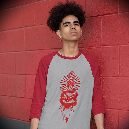 Dagger 3/4 sleeve Baseball Tee (Unisex)- Red+Grey/Red
