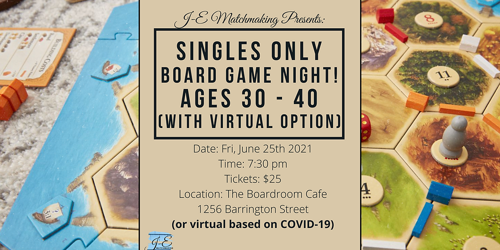 Board Game Night Ages 30-40 - Singles Only! (w/ Virtual Option)