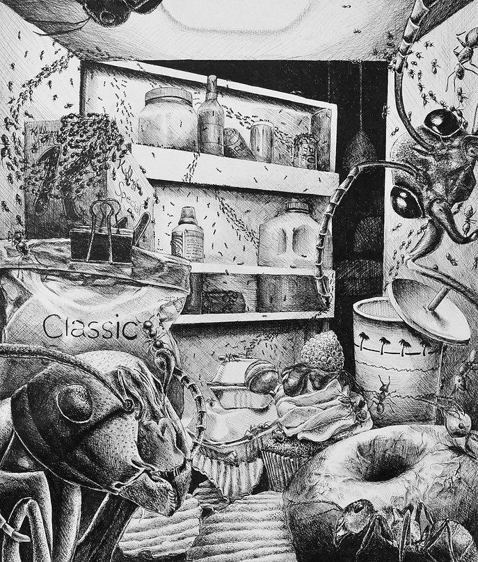 ant, illustration, refridgerator, fridge