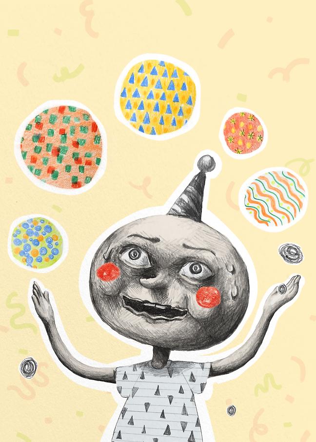 reillustration, illustration, book cover, juggling