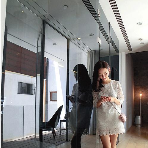 镂空白色蕾丝花边连衣裙 Lace A-Line Dress