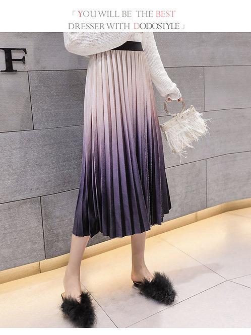 复古半身裙渐变高腰短裙丝绒百褶裙