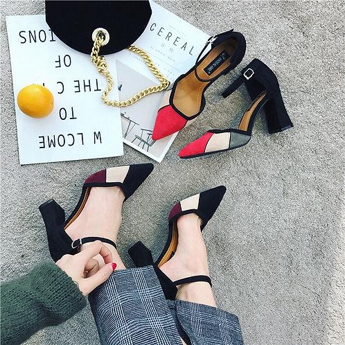 拼色时尚尖头高跟 Pointed Toe Heels