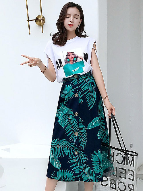 两件套休闲印花短袖T恤上衣+ 裙子 Two-piece Casual T with Floral A Line Skirt