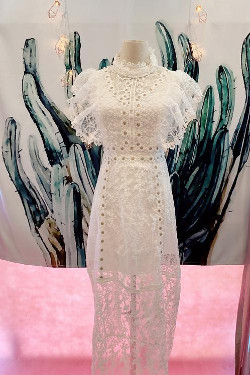 白色超仙初恋裙复古中长款蕾丝连衣裙
