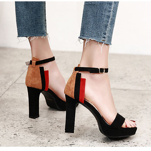 韩版优雅扣带拼色绒面防水台粗跟凉鞋  Korean Style Elegant Bukle Heels