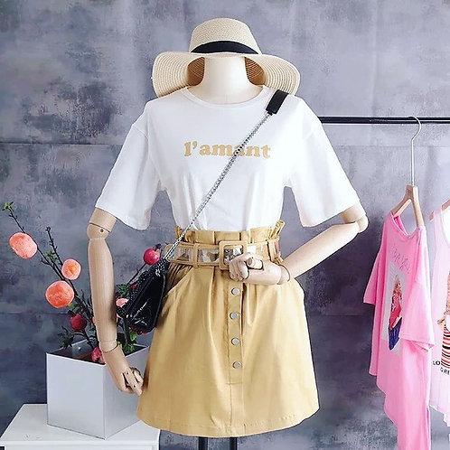 时尚套装字母T +松紧高腰显瘦半身裙 Ready Stock