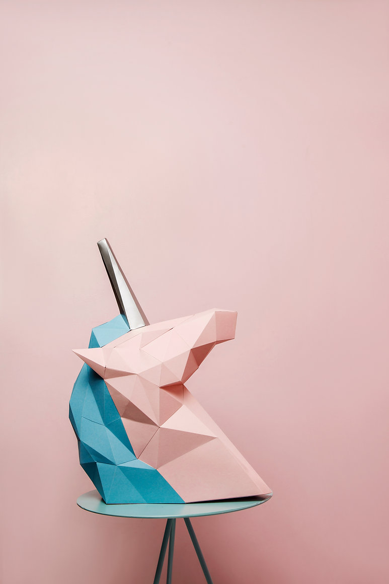 pink and blue unicorn with silver horn o