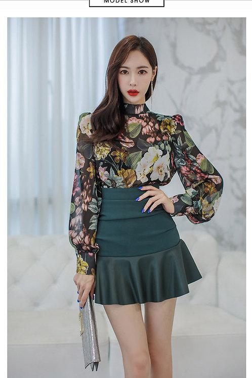 印花衬衫上衣修身拼接小裙摆短裙套装