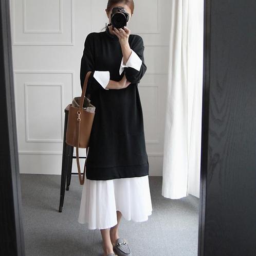 袖拼接衬衫卫衣连衣裙