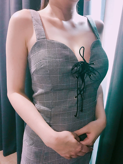 格子低胸连身裙 Checked Dress