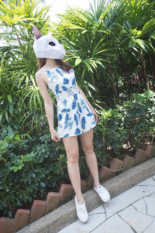 清凉印花高腰连体裤 Blue Floral Romper
