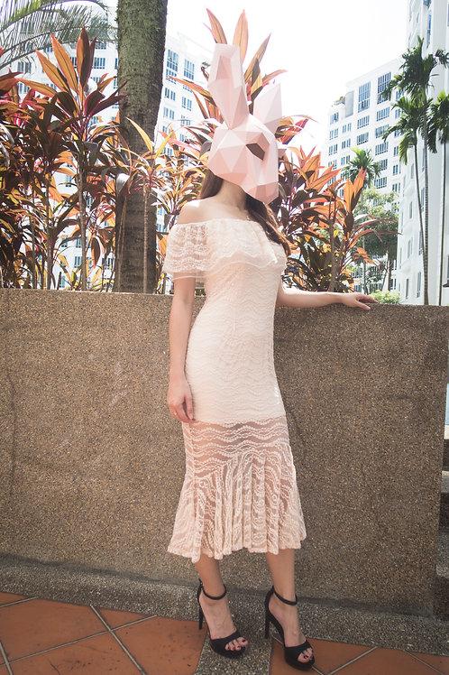鱼尾蕾丝性感露肩长裙 Fish Tale Lace Long Skirt