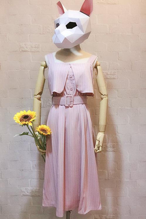 秀气显瘦淑女风竖条无袖连衣裙 Striped straps A-line dress