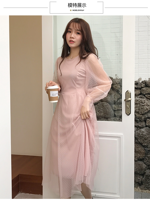 春款蕾丝网纱裙子