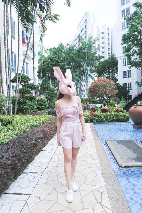 领修身高腰蕾丝花边肩带连体 Pink Lace Romper