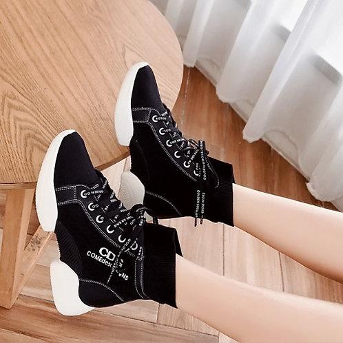 百搭韩版弹力针织嘻哈高帮鞋厚底休闲袜子靴