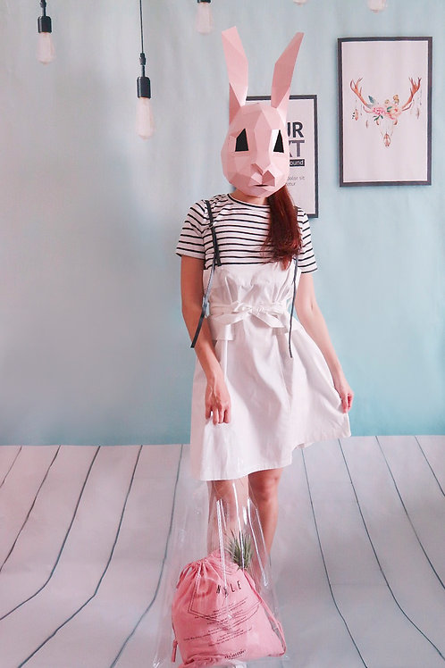 线条假两件白裙 Stripped Fake Two Piece White Dress ( Ready Stock )