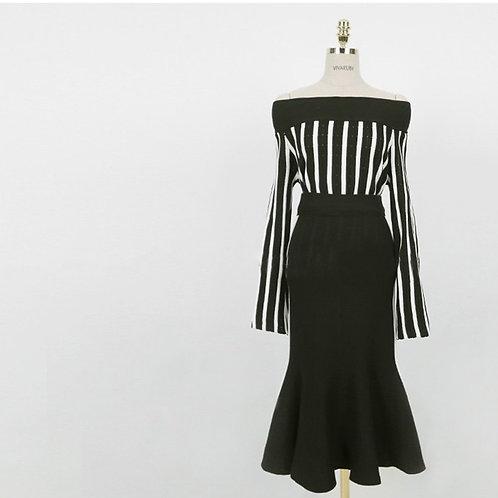 一字领露肩针织女裙套装高腰半身裙+针织衫两件套
