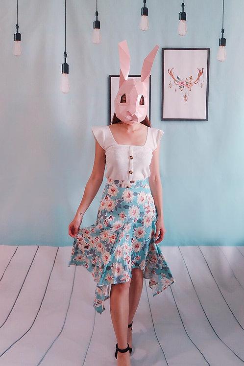 淑女印花高腰荷叶边百搭半身裙+个性背心套