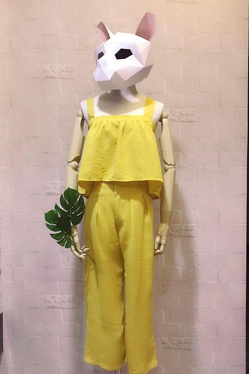 清凉露肩两件式套装 Yellow summer two piece set
