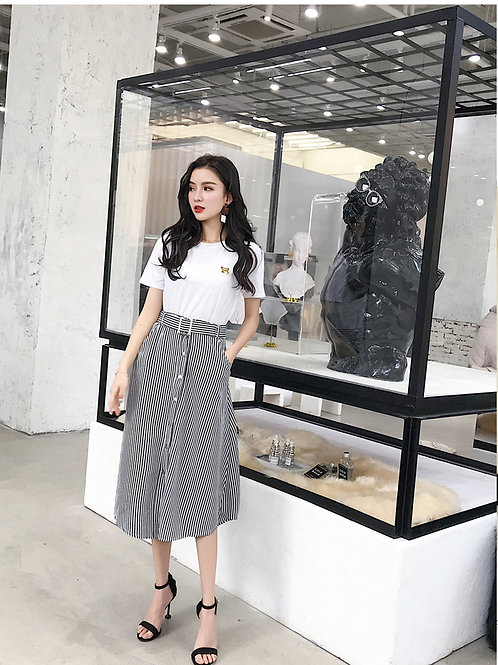 A字连衣裙两件套时尚chic时髦套装