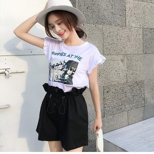 套装女印花T恤+抽绳短裤套装两件套