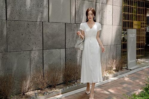 优雅简约大方钉扣收腰长款连衣裙 Elegant Long Dress