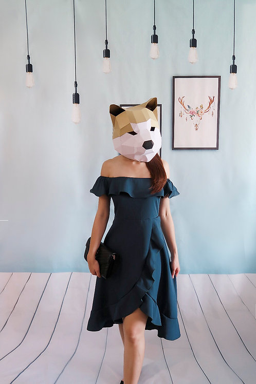 一字肩连身短裙-青