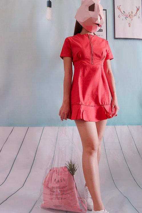 修身荷叶边连身裙-红