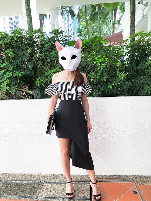 露肩吊带条纹修身不规则包臀连衣裙 -Off Shoulder Stripped  Asymmetry Dress