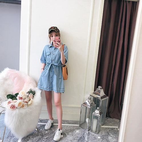 大码宽松显瘦开衫牛仔衬衫裙 Plus Size Jean Shirt Dress