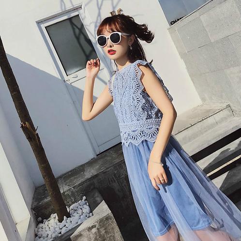 仙女蕾丝吊带背心拼接显瘦纱裙连衣裙两件套