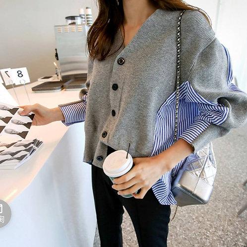 大码女装显瘦条纹衬衫拼接V领宽松针织衫