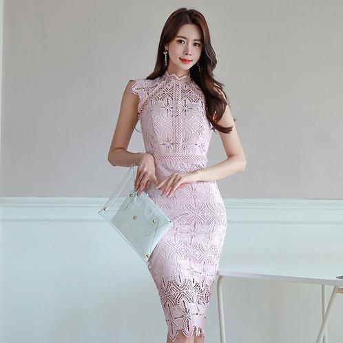 镂空花边包臀蕾丝连衣裙 Pink Lace Wrap Dress
