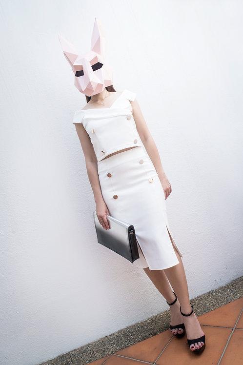 职业一字肩包臀套装开叉裙 Formal Wear with Off-Shoulder Top and Split Design Skirt
