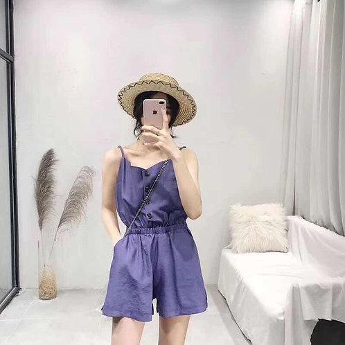 紫色无袖连体短裤 - Sleeveless Purple Romper - Ready Stock