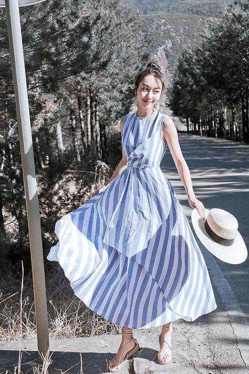 季新款韩版文艺简约条纹宽松显瘦连衣裙