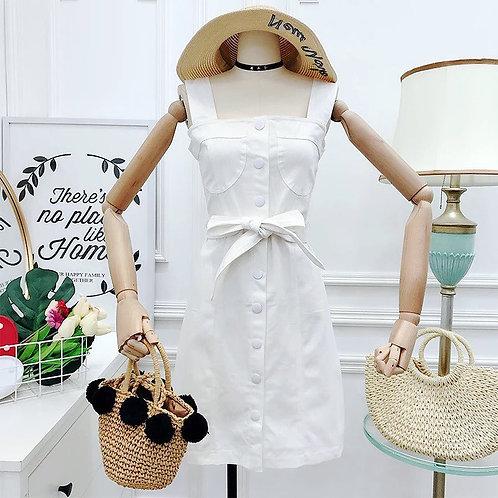 牛仔吊带连衣裙短裙 White Jeans Dress