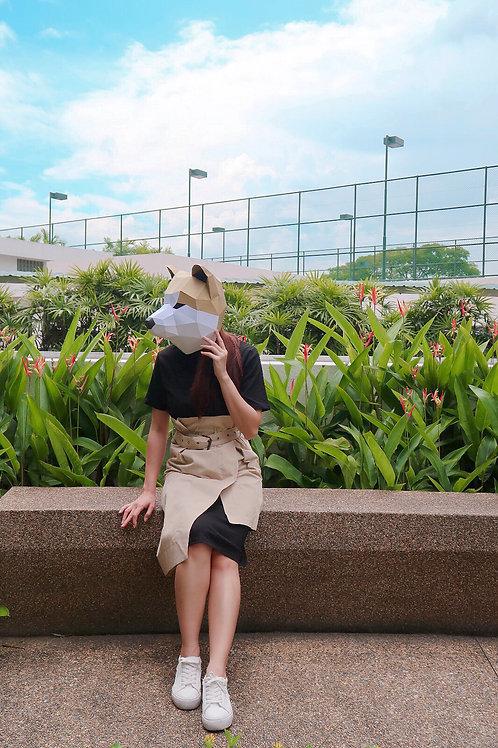 T恤 高腰不规律裙2件套 Black Long T with Skirt - Ready Stock