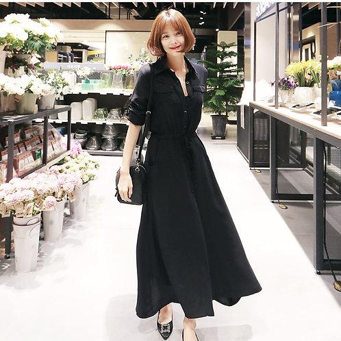 衬衫裙韩版开叉长裙气质时尚经典黑色收腰连衣裙