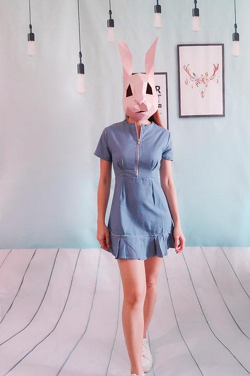 修身荷叶边连身裙-蓝