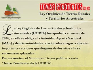 Temas pendientes de las Ley de Tierras y Territorios.