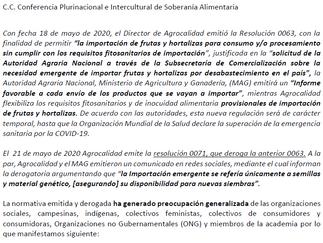 El Colectivo Agrario frente a la Resolución No. 063