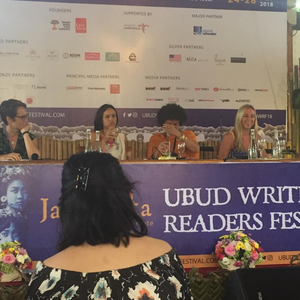 Four people sitting on a panel at the Ubud Writers' and Readers' Festival
