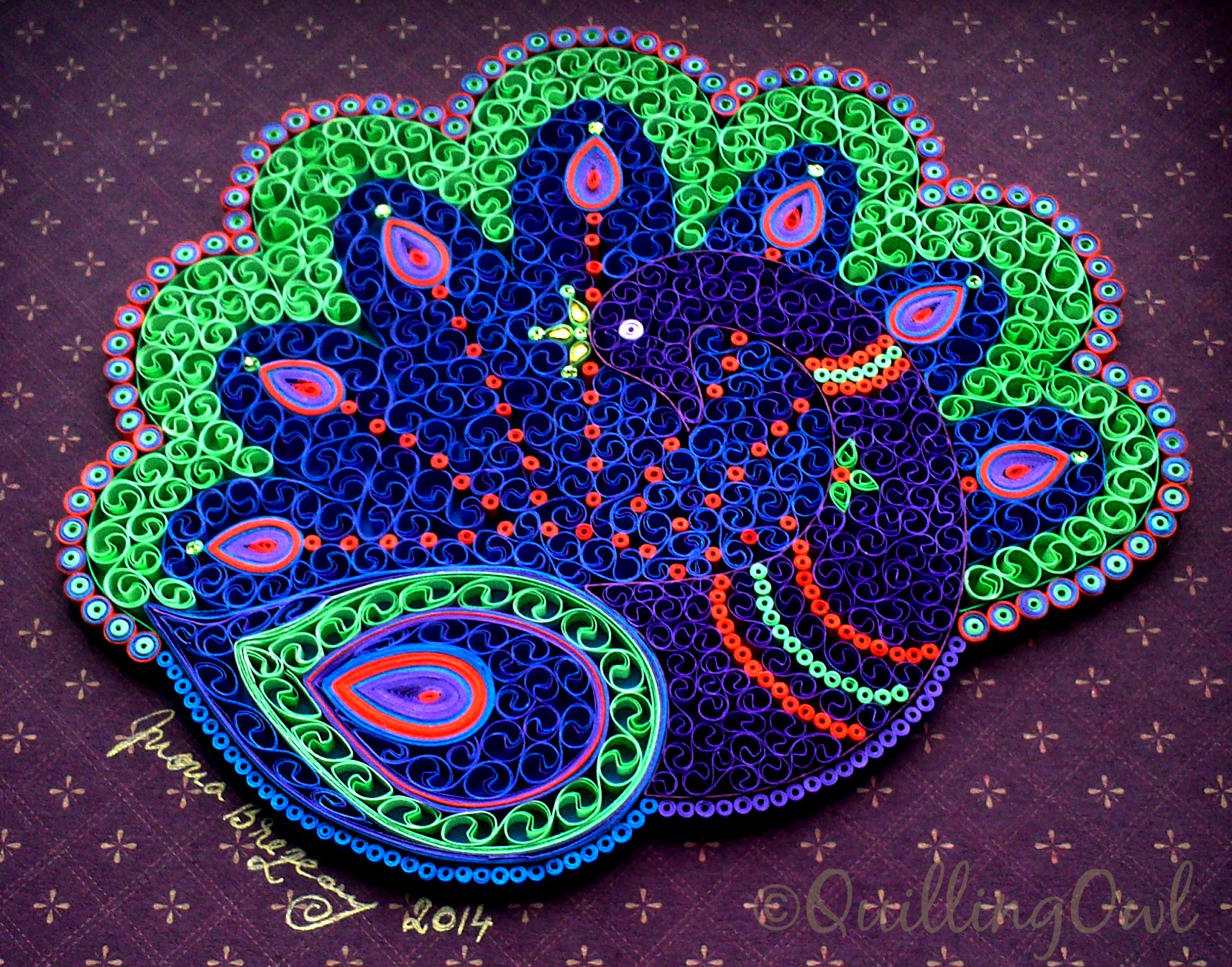 Paul the Peacock , paper quilling