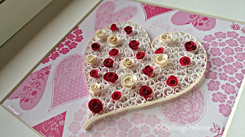 Hearts and Roses, Paper quilling art, Mother's Day