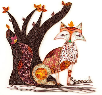 Paper quilled fox by Quilling Owl, quilled fox, fox illustration , quilling