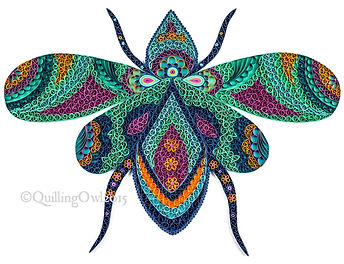 paper quilling illustration of a fly , Quilling Owl paper quilling, quilled fly , quilling