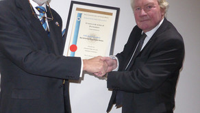 50th Year Certificate to W. Bro. Derek Howie